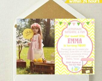 Lemonade Photo Invitation // Pink Lemonade Invitation // Lemonade Stand Invite // Lemonade Sunshine and Fun // Pink Lemonade Photo Invite