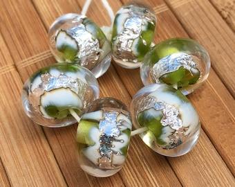 Buried Treasure Beads in Lime Green--HANDMADE Lampwork Beads
