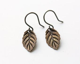 Antique Brass Leaves Earrings Modern Dainty Everyday Autumn Leaves Titanium Dangle Earrings