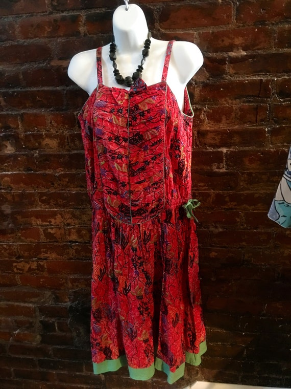 Vintage Phool Red new wave 80's  100% cotton Summer sundress with Bow made in India size M/L