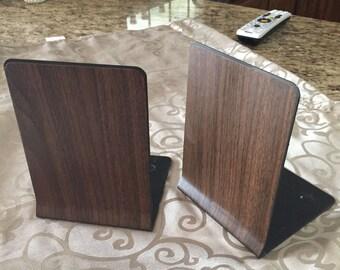 Vintage Bookends metal industrial wood grain appearance.