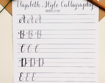 Modern Calligraphy Practice Worksheets | Uppercase Letters | Calligraphy Practice with Sample Letters A through Z | Elizabeth Style