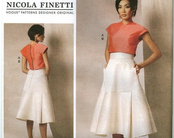 V1486 Vogue - Nicola Finetti - Misses Cropped Top & Pleated Skirt -  NEW Sewing pattern  Sz. A5 6-8-10-12-14