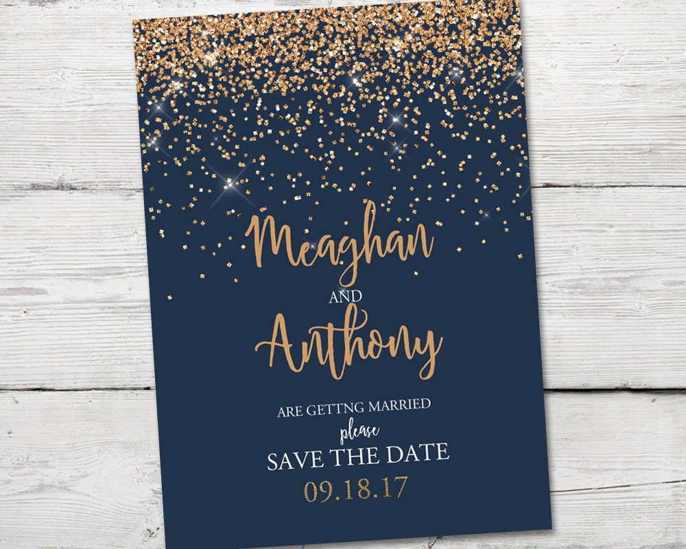 Navy And Gold Save The Dates Gold Sparkle Save The Date