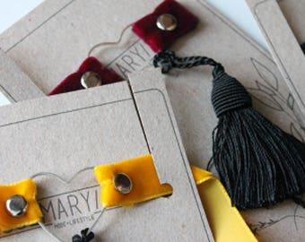 Necklace / Choker velvet tassel and heart charm