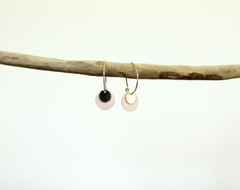 Earrings / hoops pastilles leather, Marshmallow and gold