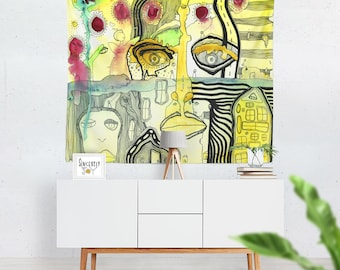 Colorful Abstract tapestry wall hanging large tapestries outsider art tapestry psychedelic art tapestries boho tapestry psychedelic tapestry