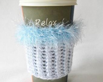 Crochet Coffee Cup Cozy Sleeve Light Blue with Sparkling Eyelash yarn Trim