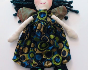Green Fairy Art Doll. Collectible 12""