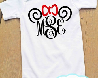 Minnie Mouse Ears Monogram Disney Bodysuit or Tshirt - Personalized shirt