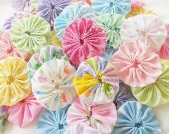 Fabric YoYo Flowers Your Choice Homespun Pastels Primitive Teastain Fabric Flowers Use for Hair Buttons Embellishments Scrapbook Cardmaking