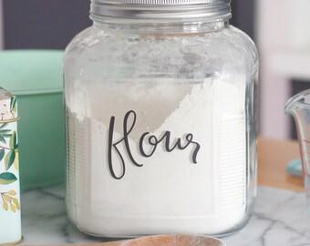 Food Canister Labels // Kitchen Pantry labels // hand lettered jar labels - you CHOOSE 6 LABELS
