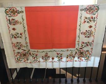REDUCED 15%/Vintage Tablecloth/Startex Household Textiles/Orange/White/Oblong
