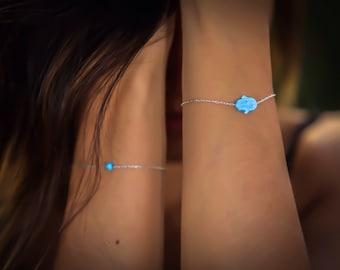 Opal hamsa bracelet, blue opal hand bracelet, opal bracelet, sterling silver bracelet, evil eye bracelet, silver hand bracelet, opal jewelry