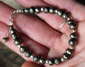 925 sterling silver and faceted Pyrite bracelet