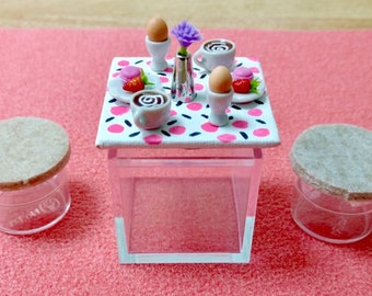 Modern Miniature Bistro Set with Mini Food