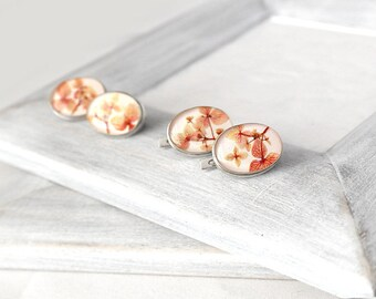 Real flowers earrings Silver jewelry gift for womens Orange sterling silver earrings for wife gift Original gift for mothers earrings peach