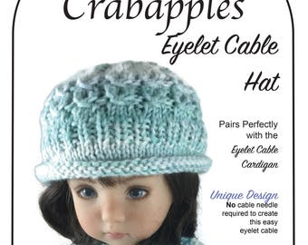 Eyelet Cable Hat Knitting Pattern to fit Little Darling