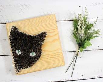 Black Cat Decor Halloween Sign-String Art-Animal Wall Art-Cat Lover Decor-Birthday Gift For Her-Cat Kid Decor-SHIPS FREE