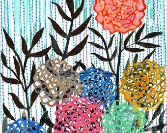 Wild Rain : Original Watercolour & Ink Painting of Flowers