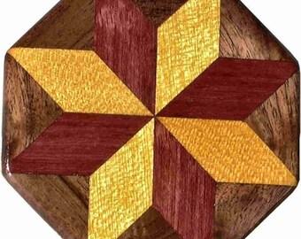SW-Ph-Walnut Quilt Block Pattern Weight