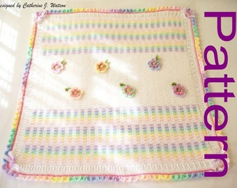 PDF Pattern Crochet Baby Blanket Girl Blanket Afghan Rainbow Garden with Pretty Flowers