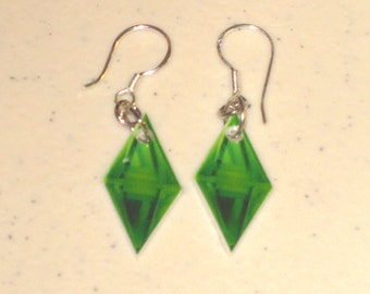 Sims Plumbob (Diamond Thing) Earrings, Keychain, Necklace, Charm, Stickers, Tattoos, Embroidered Patch, Magnets