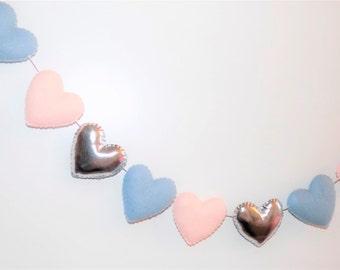 Pink and silver felt heart banner, felt heart garland, pink and silver garland, pink and silver nursery decor, pink and grey nursery
