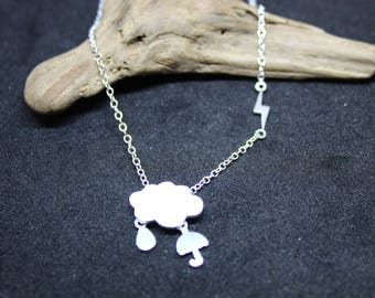 Lightning chain necklace made of 925 sterling silver Cloud, rain, lightning and umbrella