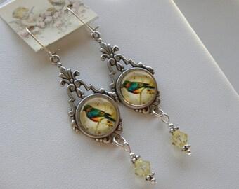 Blue Bird of Happiness Earrings, Bird Earrings, Yellow Birds, Blue Bird Earrings, Nature Earrings