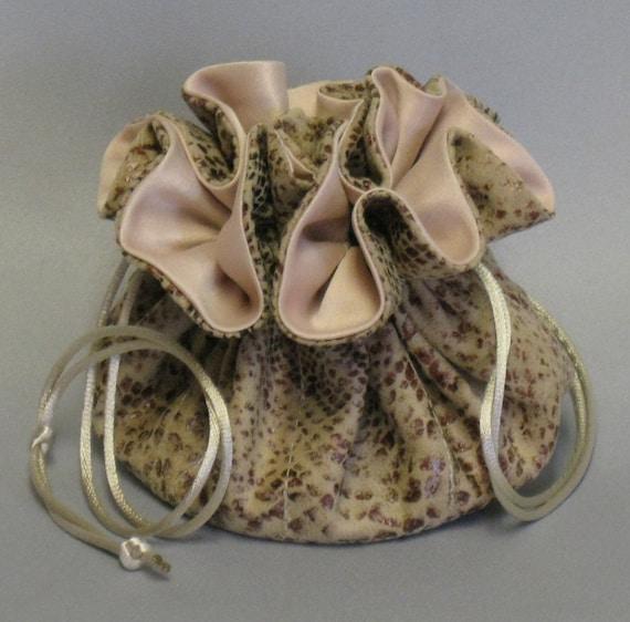 Jewelry Travel Tote---Drawstring Organizer Pouch---Snake Skin Fabric---Medium Size