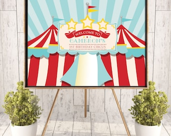 """Printed Circus/Carnival Poster, 36"""" x 48"""", 24"""" x 36"""" OR 18"""" x 24"""", Birthday Poster, Circus Tent Poster, School/Church Carnival Poster"""