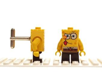 Super fun cufflinks. Cufflinks made with LEGO(R) bricks. Cuff links Wedding gift Yellow square sponge