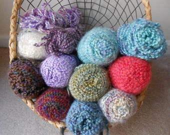 Lion Brand Homespun discontinued yarn - pick your favorite -  meadow, purple aster, coral cables, wisteria, waterfall, ocean, delft, tulip