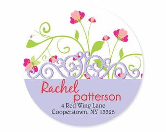 Floral Personalized Address Labels Stickers / Forget Me Nots