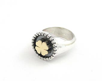 silver ring, quatrefoil ring