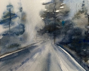 Watercolor trees, tree watercolor, forest painting, Misty forest, Misty trees, forest road, tree painting, watercolor painting, landscape