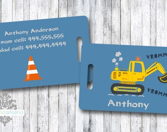 Luggage Tag | Personalized Bag/Luggage Tag | Kids Backpack Tag | Diaper Bag Tag | Custom Bag Tag | Travel Accessory | Construction