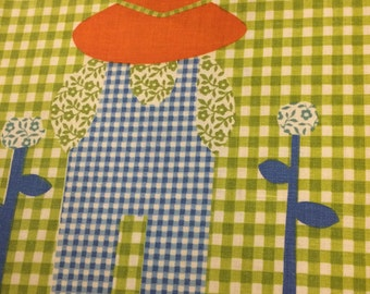 "Vintage 1980s Waverly Schumacher Fabric Material ""Hoe Down"" Childrens print, 100% cotton"