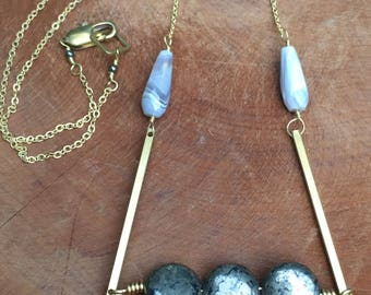Pyrite and brass necklace