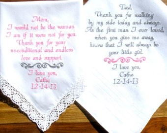 Mom and dad wedding gifts, gift for my parents, mother of the bride and groom, father of the bride and groom set of 2 by Canyon Embroidery