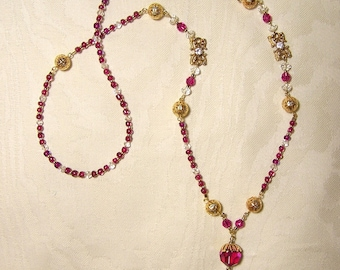 LADY SYBIL'S SAUTOIR -  Edwardian Style Necklace Inspired By Downton Abbey- Facetted Crystal, Gold Filigree