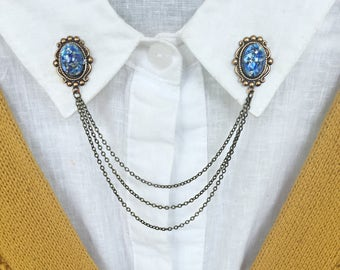 blue opal collar pins, collar chain, collar brooch, lapel pin, blue opal pin, blue opal brooch