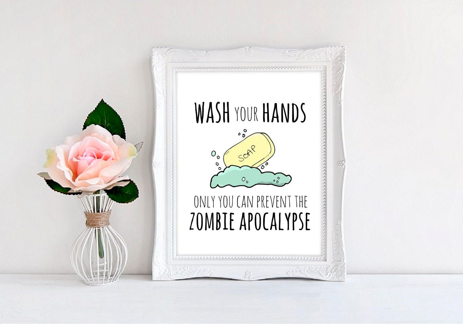 Zombie Wall Print Kitchen/ Bathroom Wash Your Hands Only