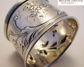 Antique French (c1890) Aesthetic Sterling Silver Hallmarked Serviette NAPKIN RING. 19th-century. Minerva .950