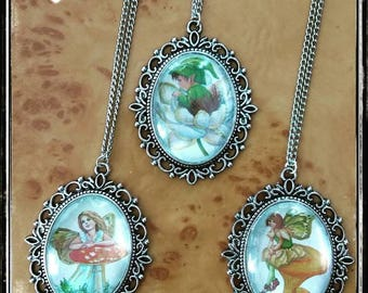 Fairies and goblins necklace with big medallion