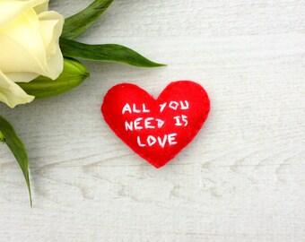All you need is love | Heart Love Token | Pocket Love Token | Love Message | Love Note | Embroidered Heart | Love Keepsake | Love Token