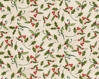 Wilmington Prints - Christmas in the Wildwood - Holly - Tan - Fabric by the Yard 33808-237