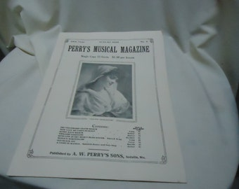 Vintage 1929 Perry's Musical Magazine Sheet Music, August, no 5, collectable