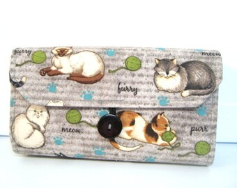 Cash Envelope Wallet  / Dave Ramsey System / Zipper Envelopes - Gray Cats by Name